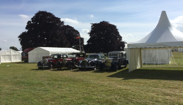 An image of various small marquees of different shapes at a Rolls Royce Owners Club