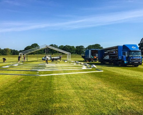 An image of a large marquee being built by specialists at Big Top Marquees
