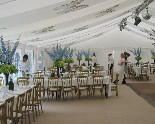 An image of the interior of Wedding marquee and the accompanying Catering