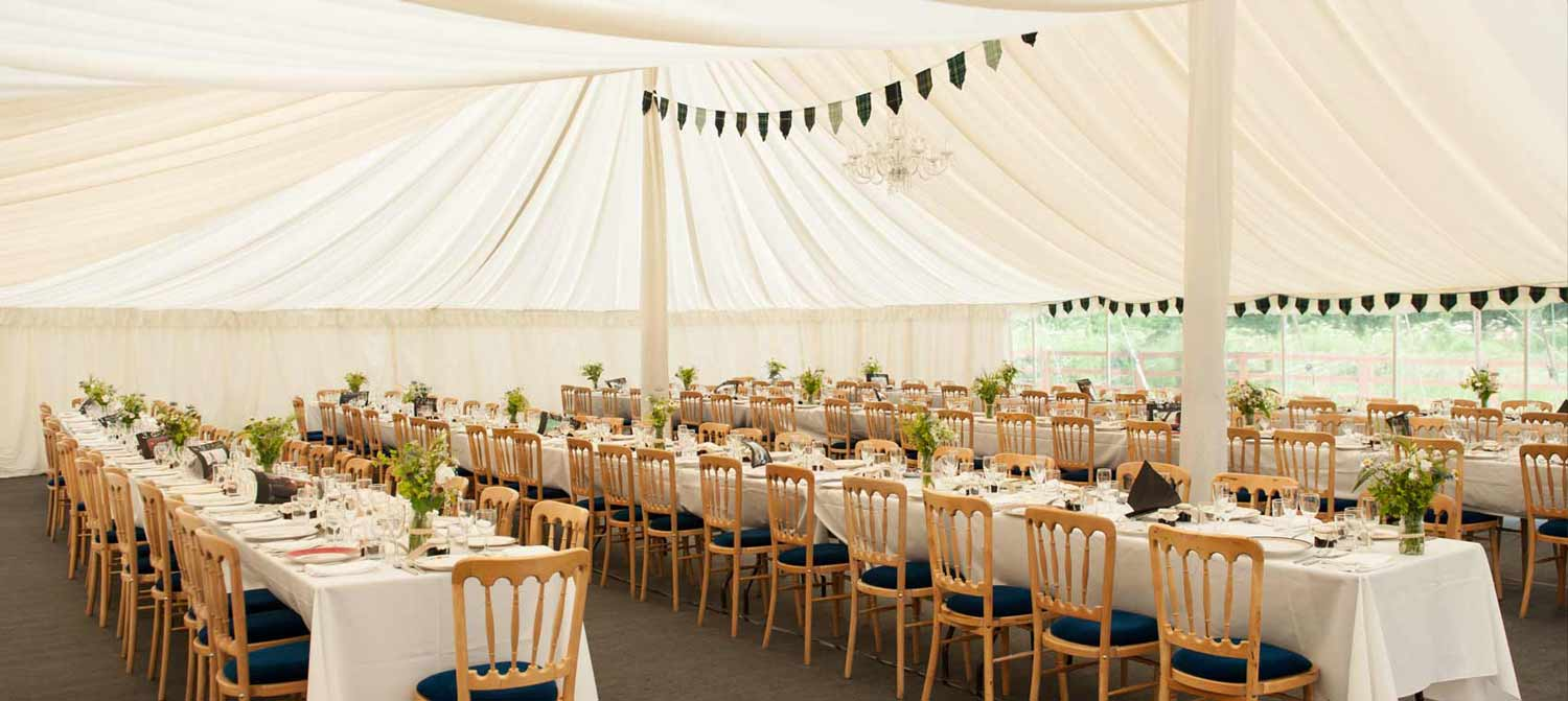 An image of a wedding Marquee Setup.