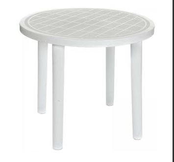 An image of a white plastic, round table available for hire from Big Top Marquees.