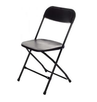 An image of a black folding chair, available for hire from Big Top Marquees.