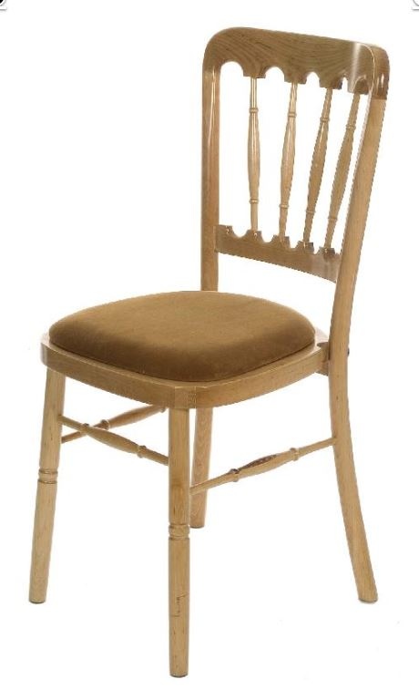 An image of a natural wooden chair available for hire from big top marquees.