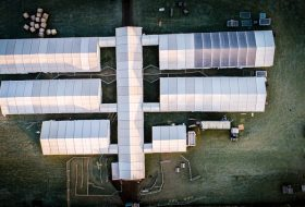 A birds-eye view of a multiple marquees which have been positioned for an event by Big Top Marquees.