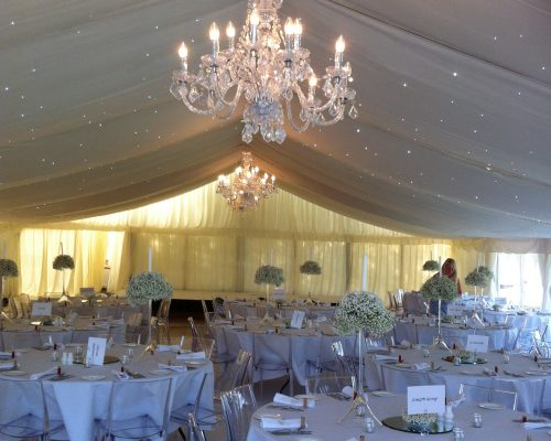 An image a marquee that has been decorated for a wedding by Big Top Marquees.