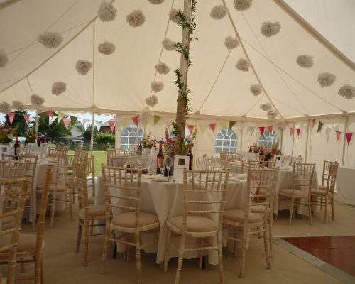 An image of the interior of a marquee, decorated by Big Top Marquees.