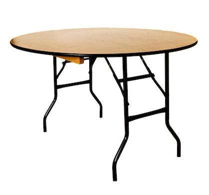 An image of a wooden round table with metal legs available for hire from Big Top Marquees.