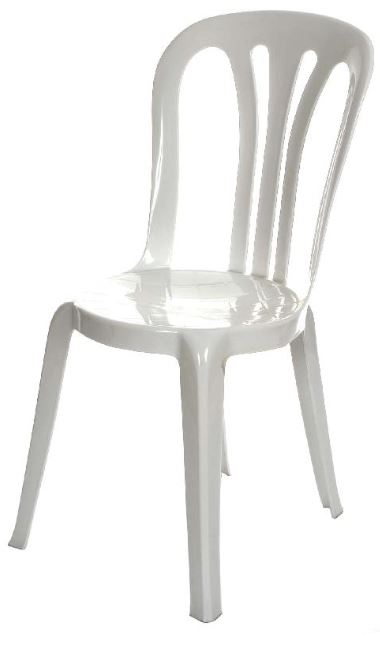 An image of a white plastic chair available for hire from Big Top Marquees.