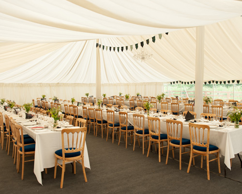 An image of Large Wedding Marquee with furniture and decoration inside