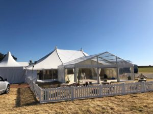 a shot of the wedding marquee