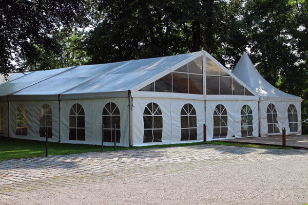 outdoor marquee with clear sides and door